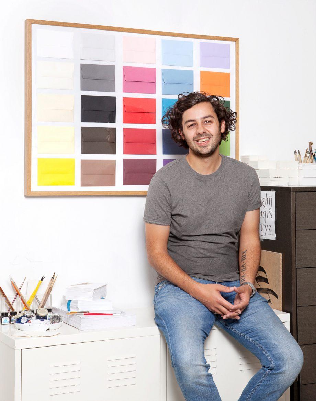 Angelo Meola, the calligrapher in his London studio.