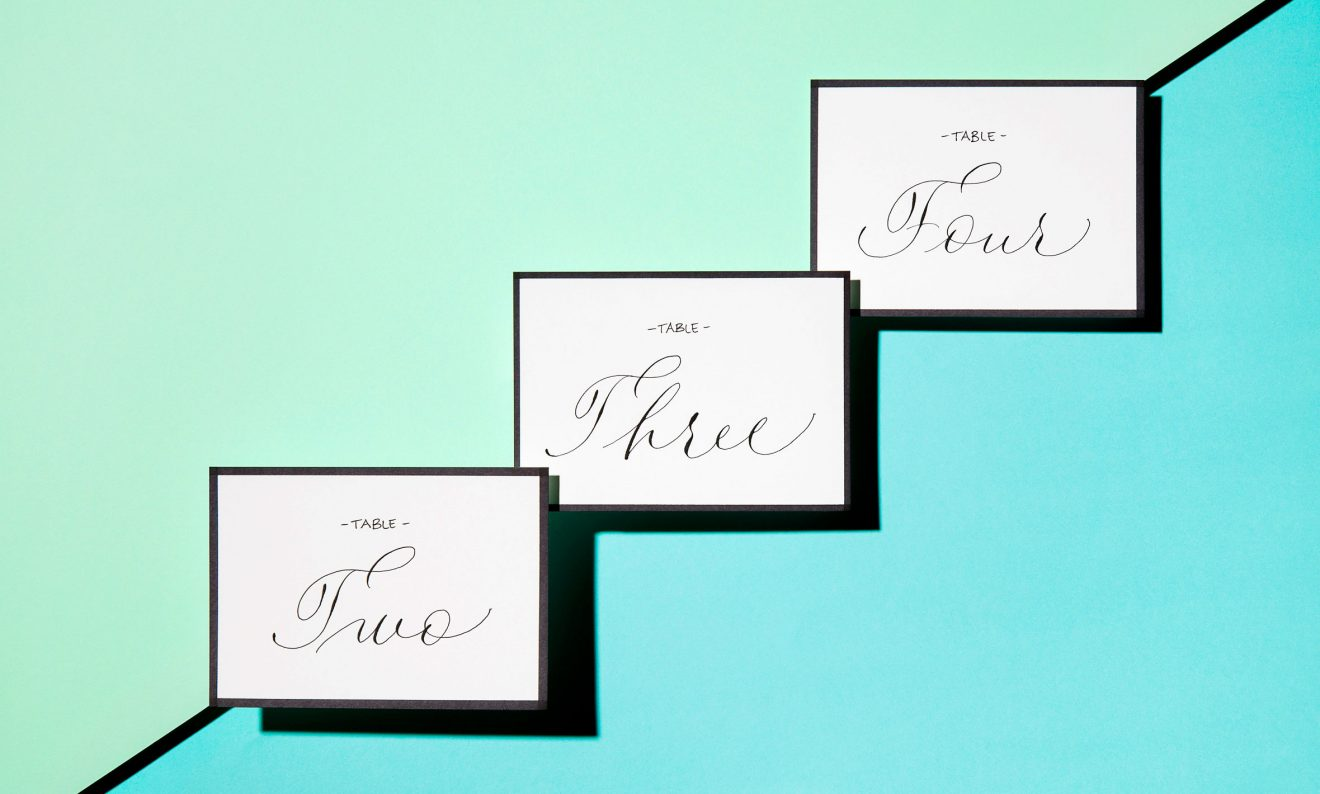 <span class='caption'><span class='caption-title'>Table Signage</span></br> Black Fineliner &amp; Pointed Dip Pen</br> Calligraphy Style 2 &amp; 8</span>