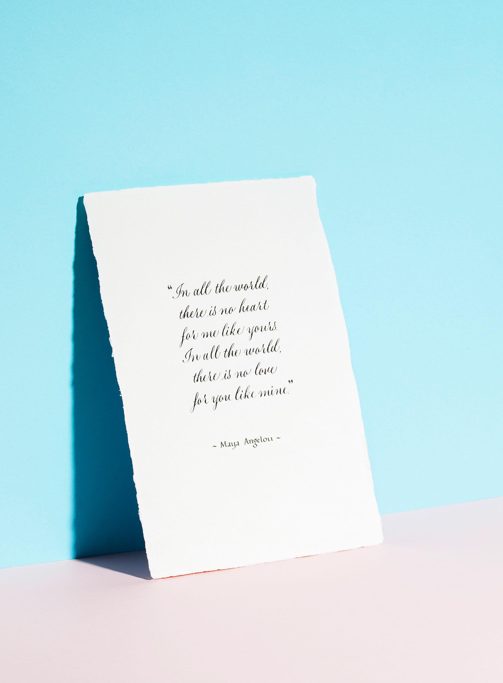 1st Year Paper anniversary gift 2nd Year Cotton Anniversary wedding Gift Maya Angelou Quote Print
