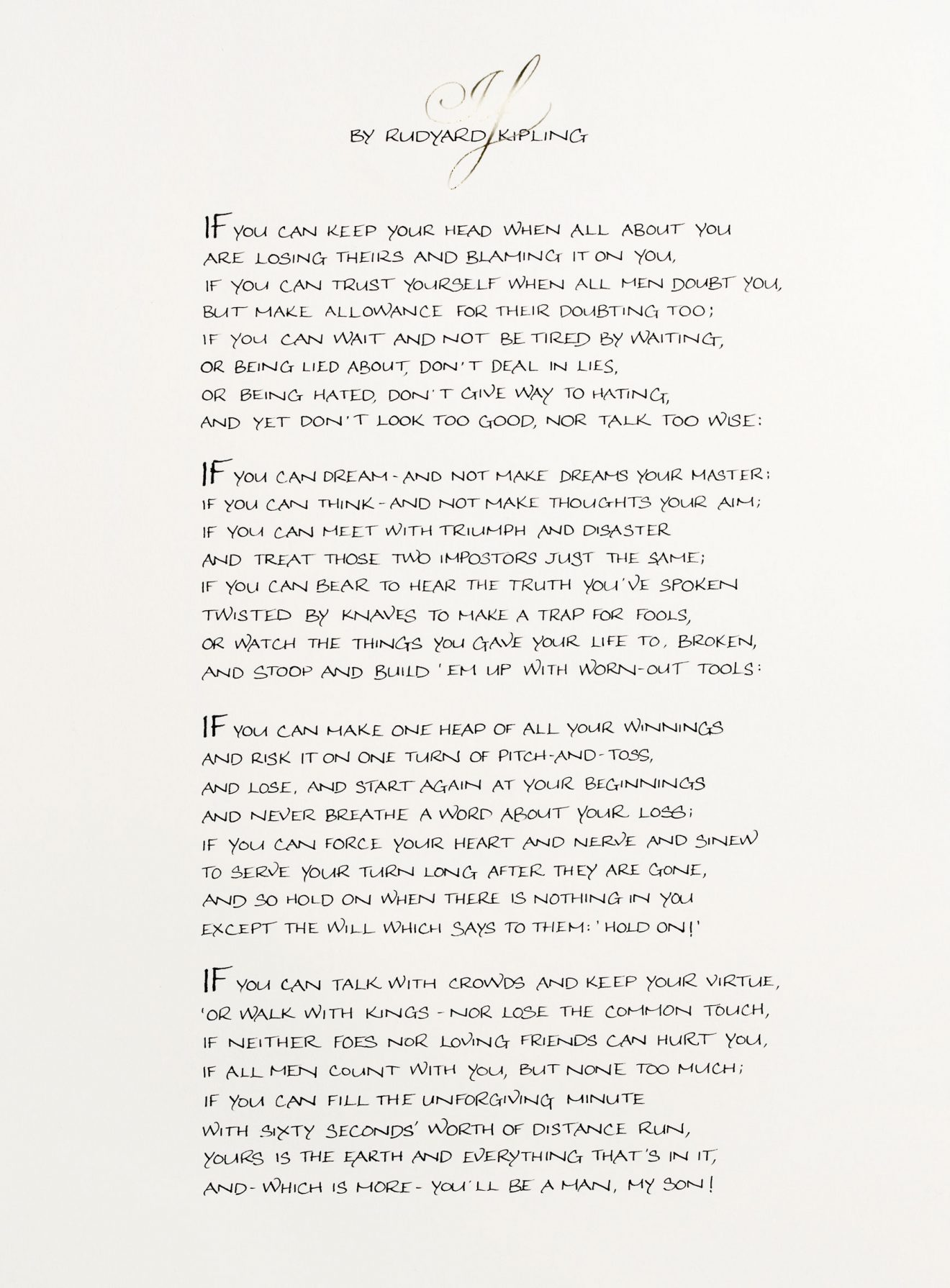If by Rudyard Kipling Print Poem